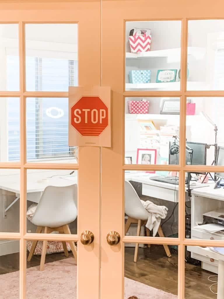 stop sign on office door