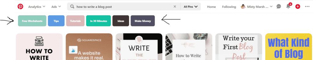 Pinterest keywords via search