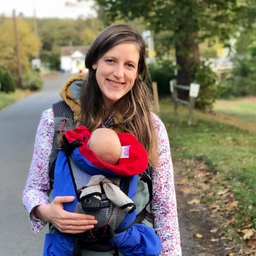 mom wearing Hatcherpack