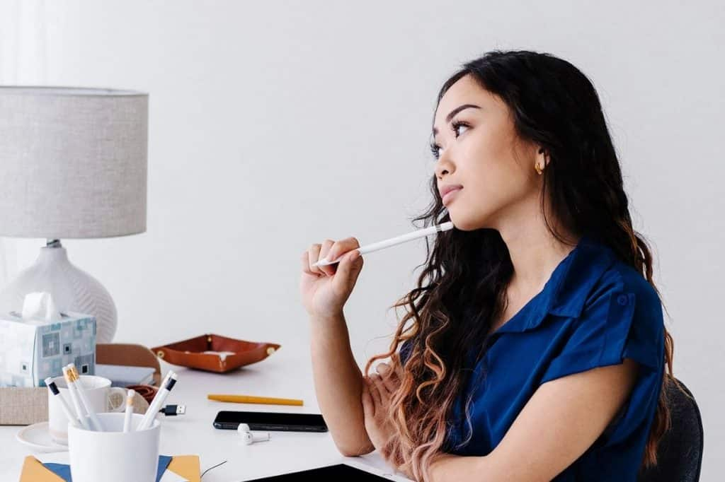 woman thinking about her website