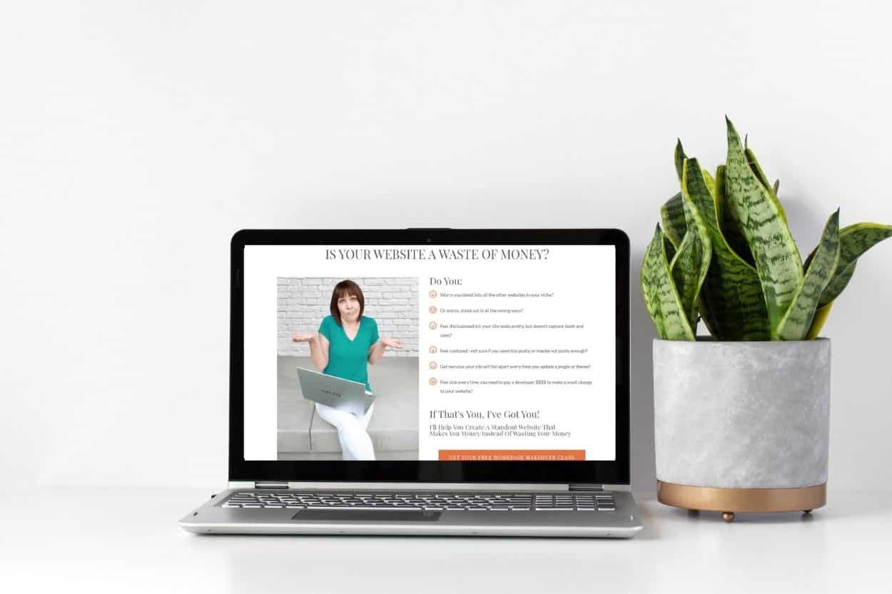 laptop with mistys website