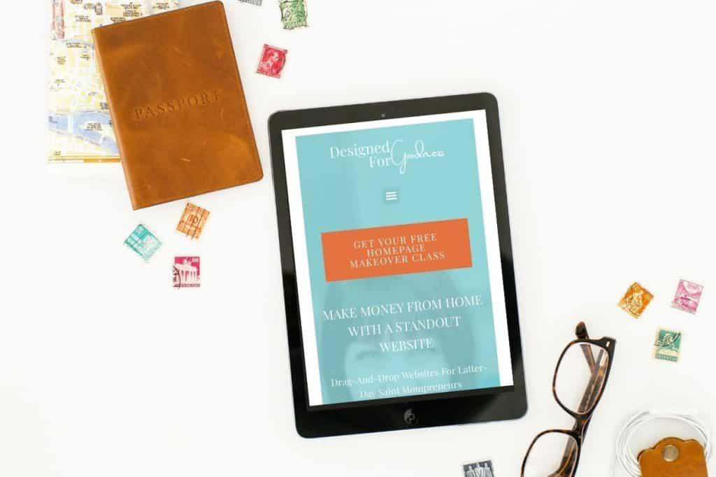 website homepage on tablet
